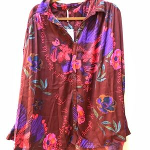 NWT free people floral silk button down blouse